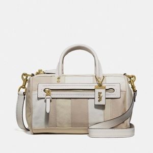 Coach White Beige Leather Crossbody Satchel Bag